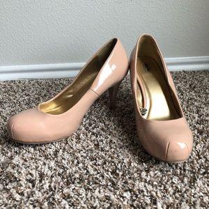 Tan/Beige Rounded Toe High Heels